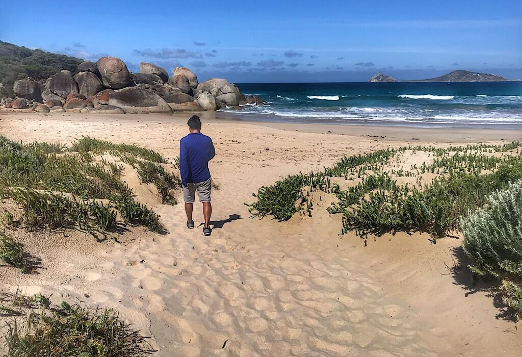 Trin on the beach at Wilson's Promontory, VIC, Australia