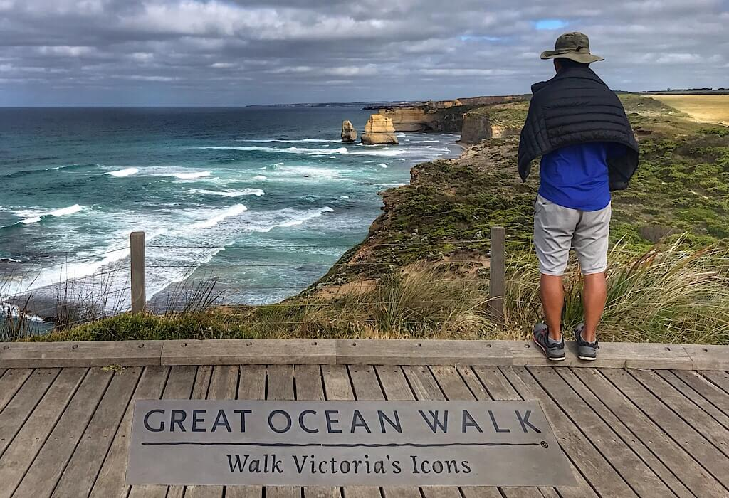 Viewing platform above the 12 Apostles on the Great Ocean Walk, Victoria, Australia