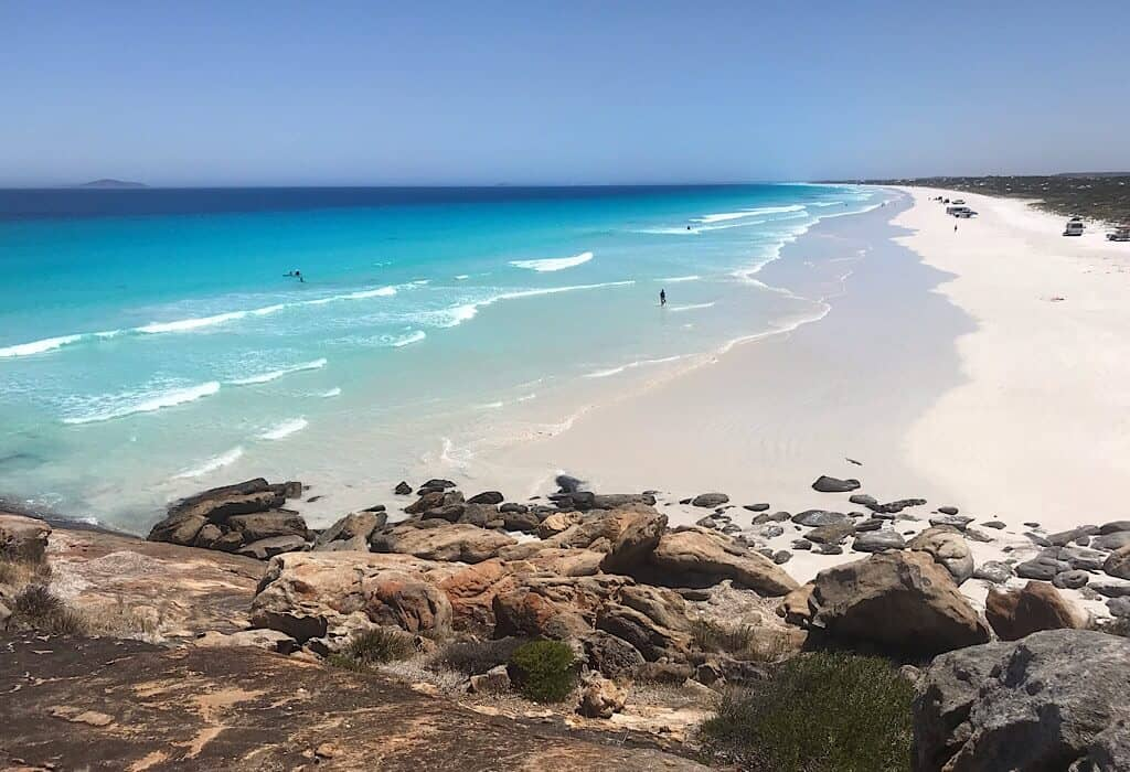 La Grand beach with cars parked on the beach Esperance, Western Australia