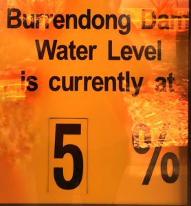 Sign for the Burrendong Dam that is used as a water source in New South Wales, Australia. It was at 5% capacity