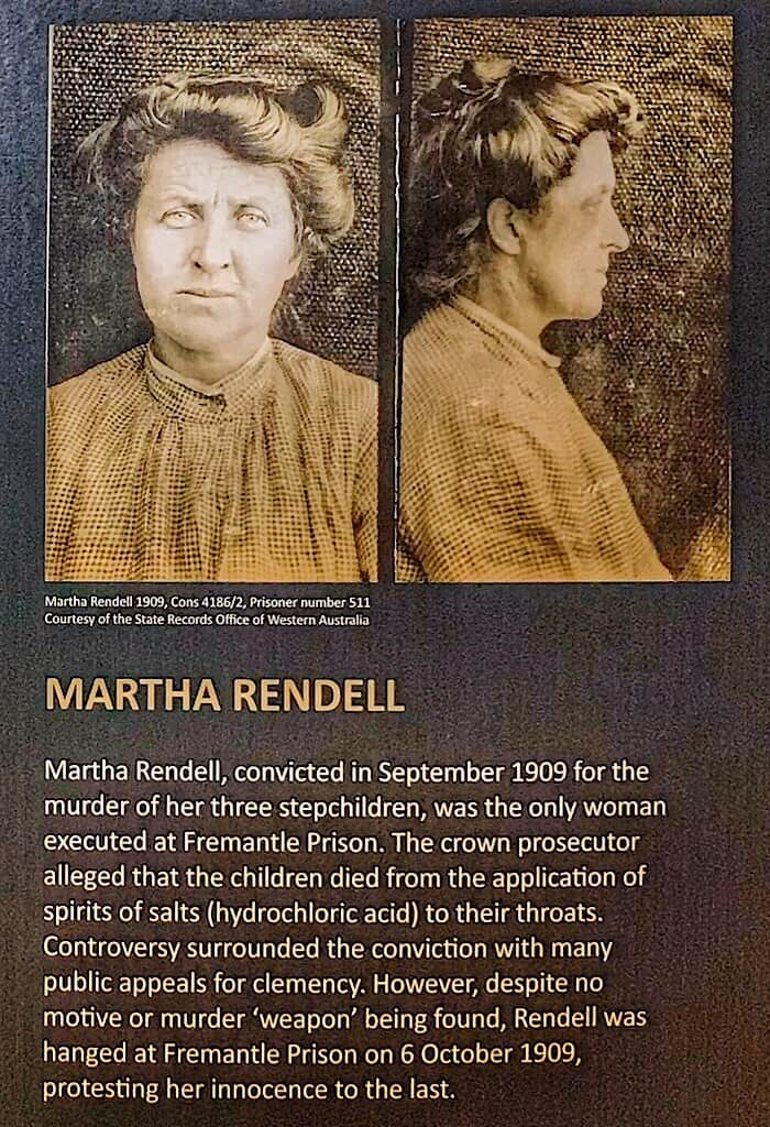 Martha Rendell innocent or guilty? She was the only woman to be hung in Fremantle Prison, Western Australia