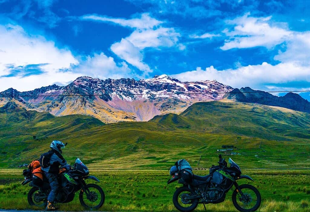 Mountains in Peru with two motorcycles