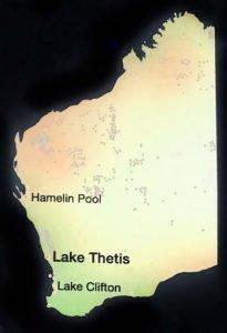 Location of thrombolites and stromatolites in Western Australia.