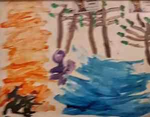 Artist Toby Richardson age 6 fire by the river in Marble Bar