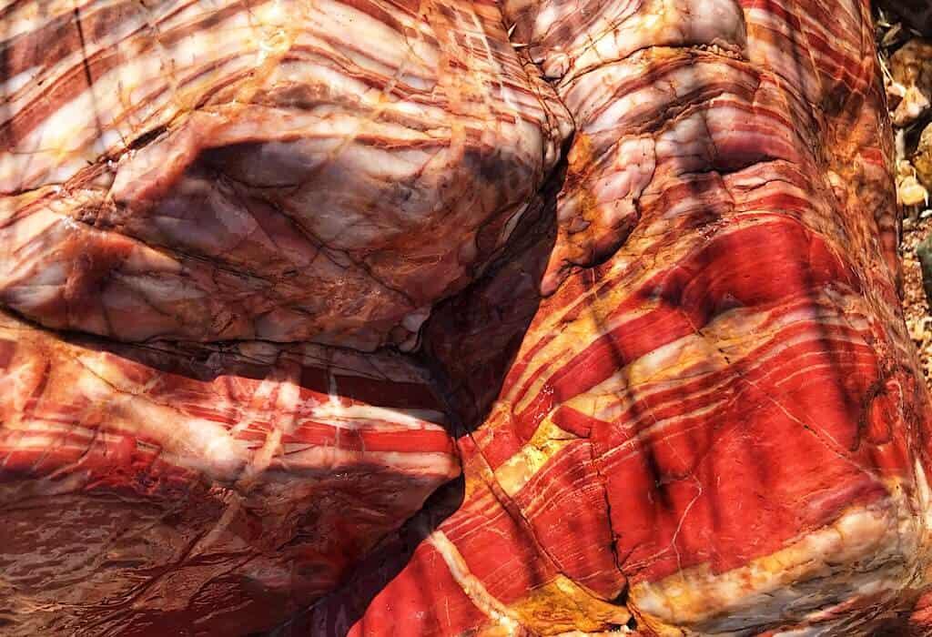 Large rocks with brilliant red Jasper