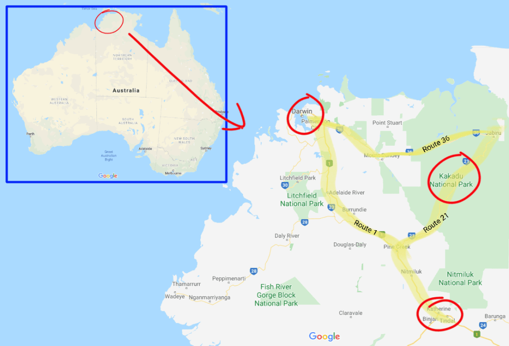Map with the location of Darwin, Kakadu, and Katherine