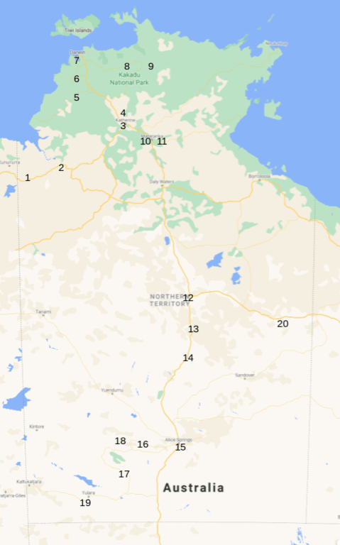 Map of 20 places to see in the Northern Territory