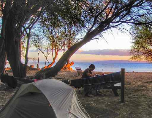 Our tent on the beach in Maui, Hawaii