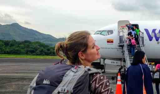 Bonnie getting on a flight in Panama