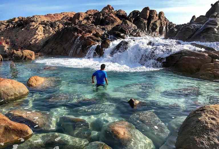 Trin in the rock pool in Injidup, Western Australia
