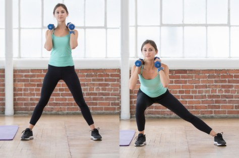The dumbbell lateral lunge is a two-part movement that target the hamstrings and glutes.