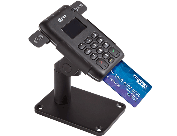 EMV chip card reader with stand.
