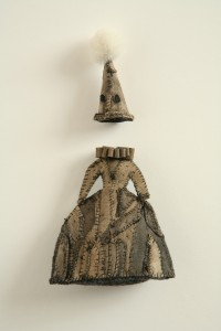 """My meet and greet outfit 6"""" X 3 1/2"""" leather, thread, wool, felt 2013"""