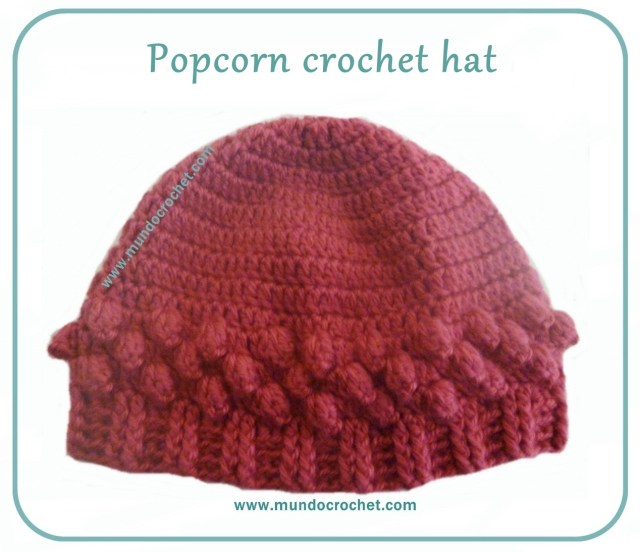 Popcorn crochet stitch hat free pattern0