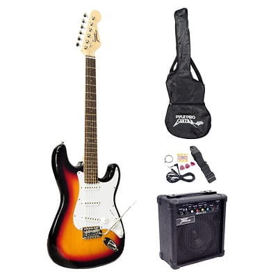 PylePro Full Size Electric Guitar Package w/Amp, Case & Accessories, Electric Guitar Bundle, Beginner Starter Package, Strap, Tuner, Pick, Ready to Use Out of the Box