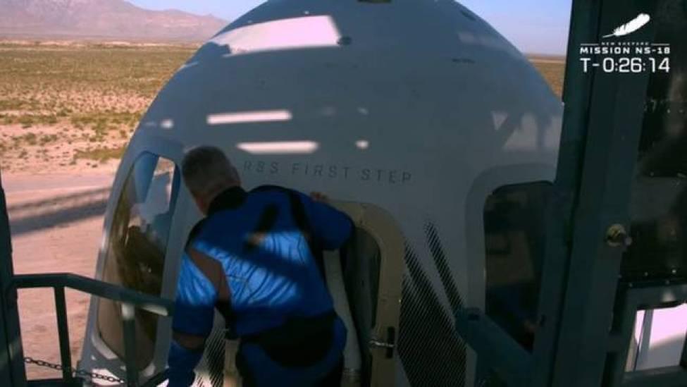 Shatner walks into Blue Origin's New Shepard before take off.  Credit: NBC News / Blue Origin
