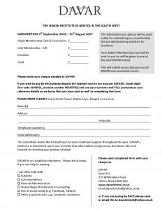 DAVAR membership form image