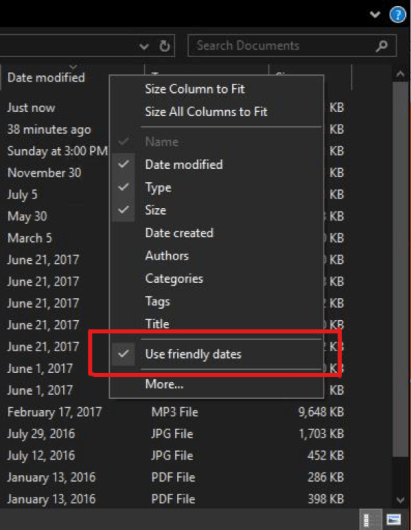 Showing context menu for when you right-click the column header, with option saying Use Friendly Dates. Date format is more conversational.