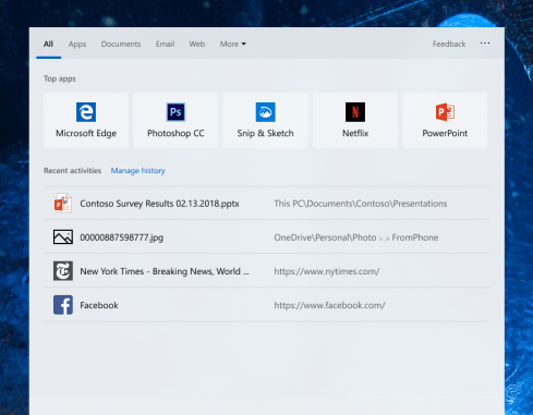 Get quick access to the apps that you use the most, just open Search Home and you'll see them under Top apps—no typing required!