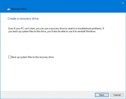 Create a recovery drive dialog window.