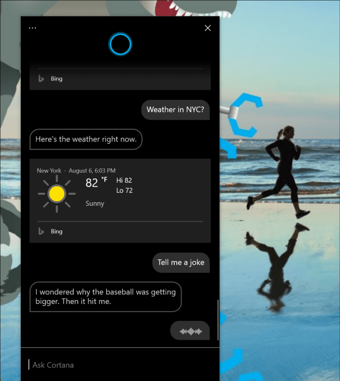 """Showing the new Cortana experience, with a joke (""""I wondered why the baseball was getting bigger. Then it hit me."""""""