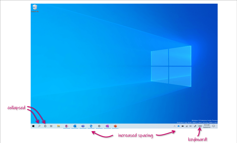 Showing the increased spacing on the taskbar, plus collapsed search box and keyboard icon.
