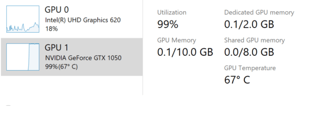 Showing the temperature of the GPU in Task Manager.