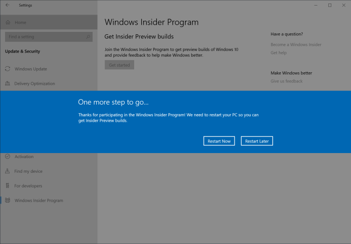 """Step 5: Press """"Restart Now"""" to ensure your PC is now in the Release Preview ring. Without restarting your PC, your PC won't be fully be joined. A restart is required."""