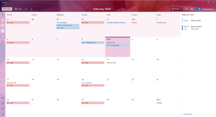 The new and improved Calendar app for Windows 10, showing a February 2020 calendar view.