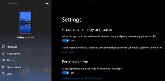 Screen showing settings to turn on cross-device copy and paste feature.