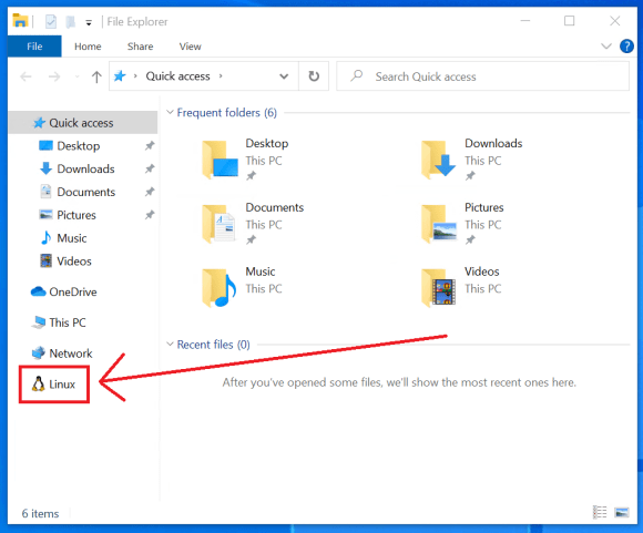 Pointing out the Linux entry in the File Explorer navigation pane.