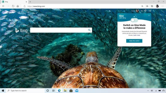 User interface for Give with Bing