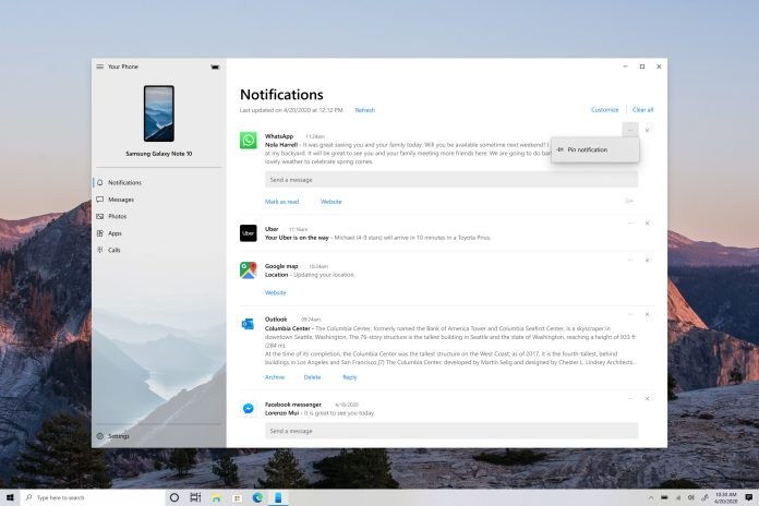 Your Phone app on Notifications feature with Notifications menu pinning expanded.
