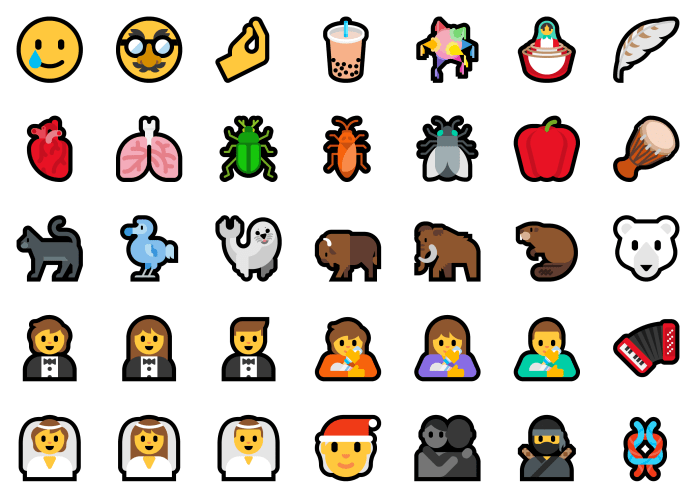 Showing an array of the new emoji that will be added, including ninja, bubble tea, face wearing a disguise, and smiling face with a tear.
