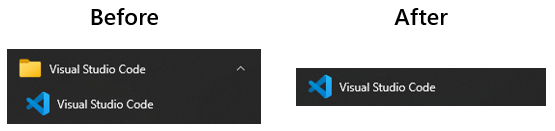 Showing Visual Studio code in a folder by itself and then (after) not in a folder.