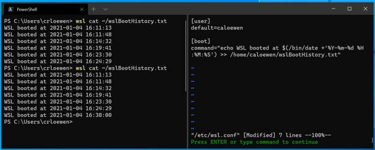 A screenshot of Windows Terminal displaying a user interacting with WSL.