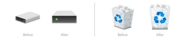 Before and after of hard drive and Recycle Bin icons.