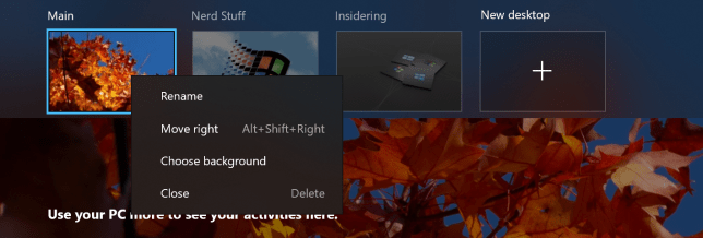 You can now reorder and customize the backgrounds for each of your Virtual Desktops.