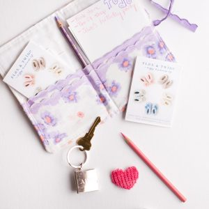Note holder made with charming vintage handkerchiefs