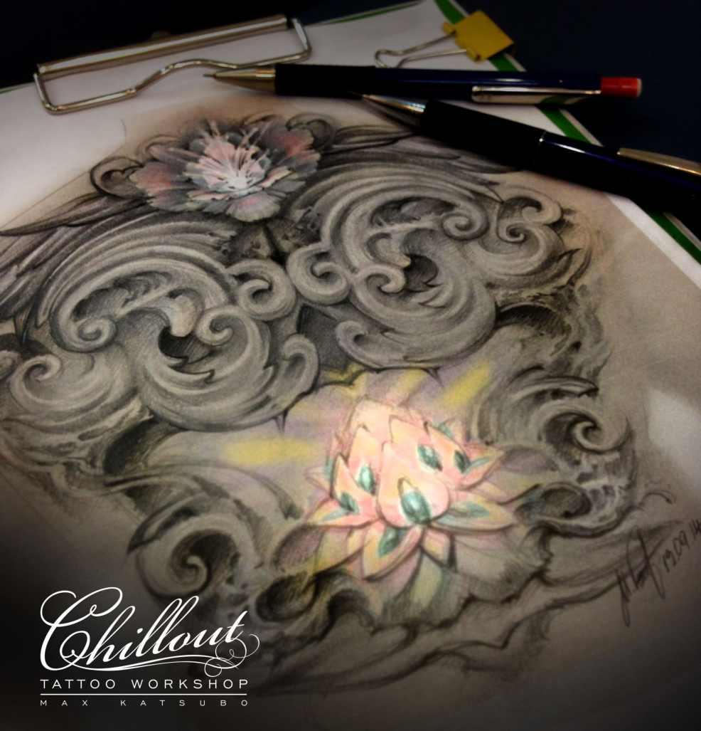 Art тату эскиз лотос Chillout Tattoo Workshop