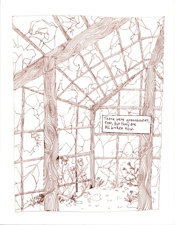 a thistle in a greenhouse, scan from the yellow wallpaper graphic novel