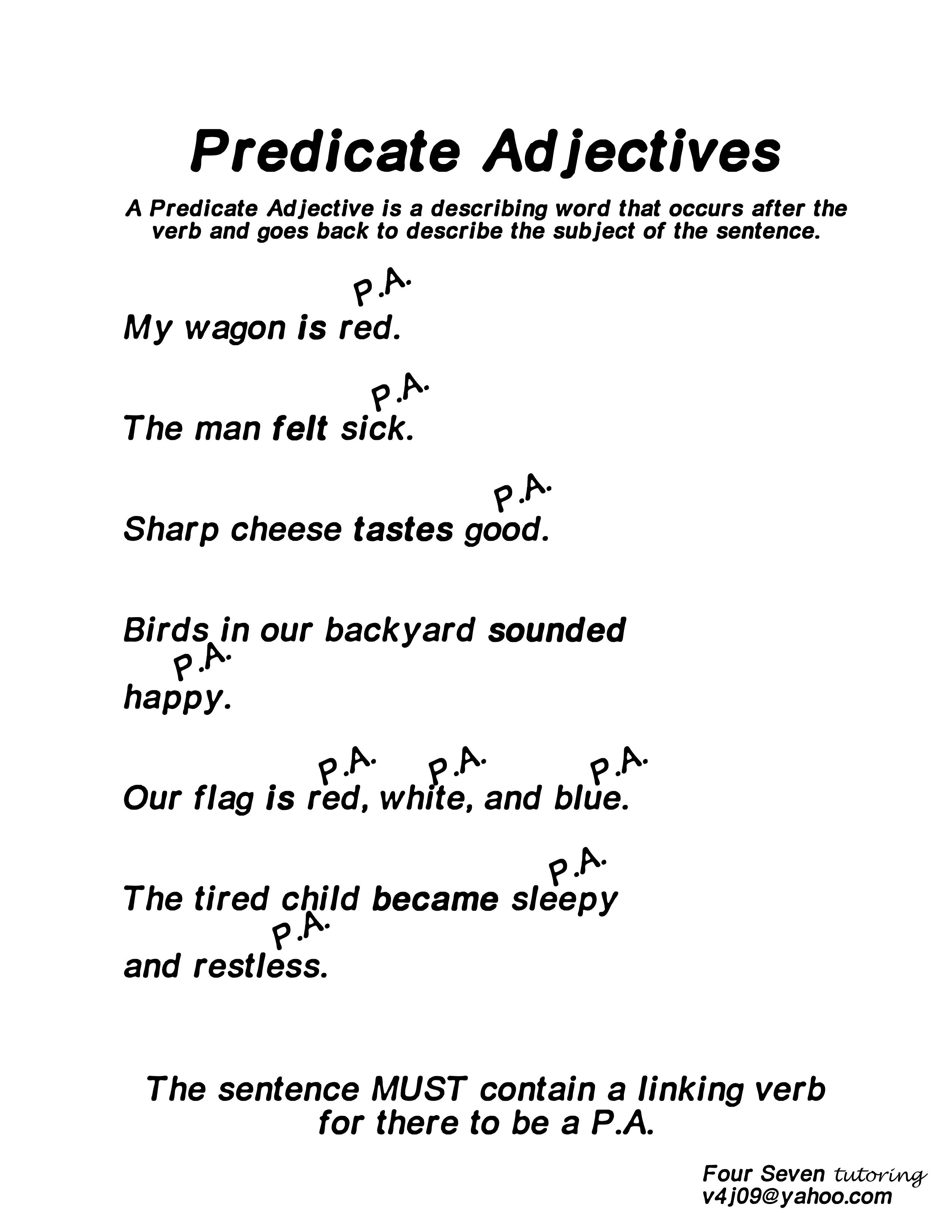 Predicate Adjectives Resource