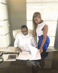 DJ Cuppy visits her billionaire dad's office, check out his phones