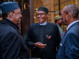Photos: President Buhari joins world leaders at a dinner hosted by organizers of Paris Peace Forum