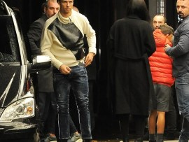 Cristiano Ronaldo arrives at a London hotel with his girlfriend Georgina Rodriguez and son Cristiano Jr (Photos)
