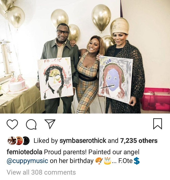 Billionaire Femi Otedola And Wife Nana Draw a Painting of Their Daughter DJ Cuppy On Her Birthday [Video]