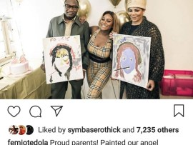 Adorable video of Femi Otedola and wife Nana drawing daughter DJ Cuppy on her birthday