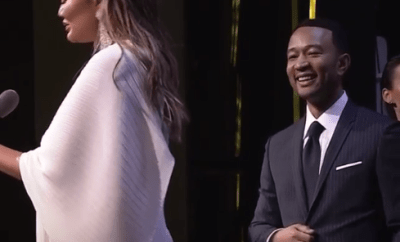 Chrissy Teigen gives emotional speech that moves her and husband John Legend to tears after he presented her with the Women of the Year award (video)