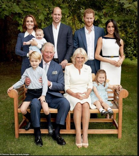 Rare Royal Delight: Prince Charles is pictured with his entire dynasty to celebrate his 70th birthday