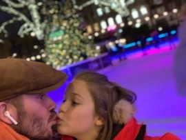 David Beckham and daughter share a kiss but internet users think it